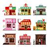 Schłodzić zestaw szczegółowych płaska miasta publiczności | Stock Vector Graphics