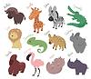 Set von niedlichen Cartoon-Tiere. Lustige Savanne