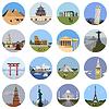 Sehenswürdigkeiten in aller Welt flach icon set
