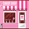 Candy shop in pink color. Flat design | Stock Vector Graphics