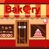 Bakery building with cakes, donuts and pies | Stock Vector Graphics