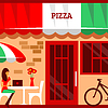 Of pizza restaurant with terrace in front | Stock Vector Graphics