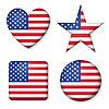 Amerikanische Flagge der Vereinigten Staaten in glänzend Form Taste o
