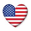 Amerikanische Flagge der Vereinigten Staaten in glänzend Herz-Taste