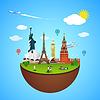 Sehenswürdigkeiten in aller Welt Konzept. Reise Design