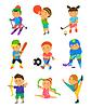 Векторный клипарт: спортивные детские мультики