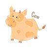 Векторный клипарт: Корова. Домашние животные. Наклейка для детей. ребенок