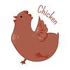 Векторный клипарт: Курица . Наклейка для детей. Ребенок весело значок