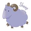Векторный клипарт: Овца . Наклейка для детей. Ребенок весело значок