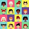 Векторный клипарт: Многонациональные женщины, возглавляющие профильные лица аватар
