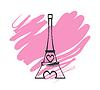Paris Eiffelturm-Symbol mit rosa Herzen