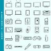 Dünne Linie elektronische Geräte Vektor-Icons