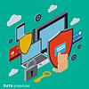 Computer-Sicherheit, Datenschutz Vektor-Konzept