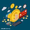 Geldüberweisung, Finanztransaktions Vektor-Konzept