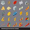 Vektor Cliparts: Finanzstatistik Ikonen-Sammlung