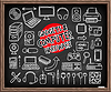 Doodle Computer Hardware icons   Stock Vector Graphics