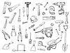 Satz von Konstruktionswerkzeug Zeichen und Symbol Kritzeleien