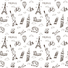 Doodles pattern with world famous landmarks | 向量插图