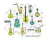 Тонкий набор линии музыкальных инструментов современной концепции | Векторный клипарт