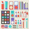 Wohnung Frauen Make-up Kosmetik liegen auf dem Tisch mit