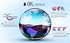 Gläser Weltöl Hintergrund Infografik Konzept.