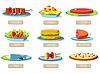 Verschiedene Gerichte icons set Konzept. Design. Vorlage