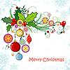 Vektor Cliparts: Gruß Weihnachten und Neujahr Karte