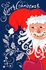 Vektor Cliparts: Frohe Weihnachten Grußkarte mit Sankt