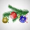 Weihnachtsbaum Zweig mit Weihnachtskugeln