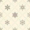 Nahtloses Muster der Schneeflocken, schwarz auf beige