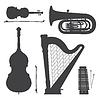 Монохромный музыкальные инструменты силуэты коллекции | Векторный клипарт