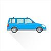 Flach blauen Wagen Karosserie Stil-Ikone