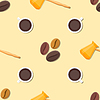 Vektor Cliparts: Kaffee Barista deco seamless pattern