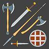 Векторный клипарт: средневековый набор холодное оружие