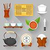 Векторный клипарт: чайный сервиз церемонии оборудование
