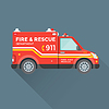 Векторный клипарт: пожарно-спасательные отдел аварийного автомобиля