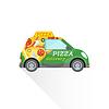 Векторный клипарт: быстрая доставка пиццы мини-автомобиль