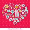 Valentine Hintergrund mit flachen Elementen