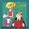 Kellnerin nimmt einen Auftrag von Kunden in cafe