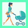 junge Mutter mit Kinderwagen