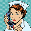 Krankenschwester Rezeption Telefon spricht