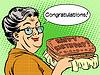 Векторный клипарт: Бабушка хотела с днем рождения торт
