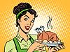 Векторный клипарт: женщина горячее блюдо картофель птиц