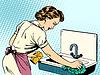 Frau säubert Küche Sauberkeit Spüle Hausfrau