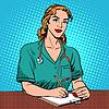 Векторный клипарт: Стажер отдел регистрации и обслуживания в больнице