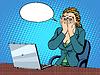 Geschäftsfrau mit Laptop schlechte Nachricht