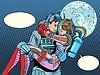 Couple astronauts love man woman | Stock Vector Graphics
