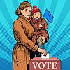 Mutter und Kind Frauen stimmen bei Wahlen