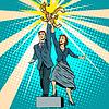 Geschäftsmann und Geschäftsfrau mit Geld | Stock Vektrografik