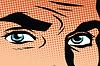 Векторный клипарт: Ретро мужчины голубые глаза поп-арт